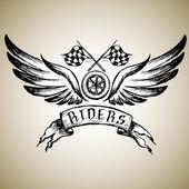 biker tattoo or emblem  hand drawn design elements