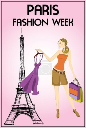 shopping girl in paris, vector illustration.