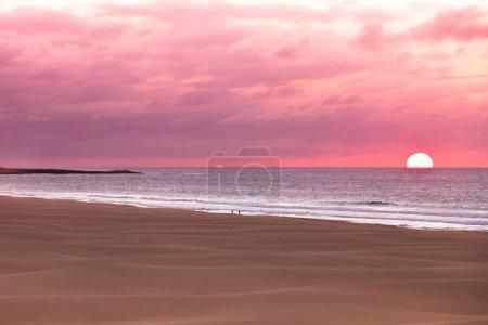 Sunset and sand dunes at beach, Boavista - Cape Verde