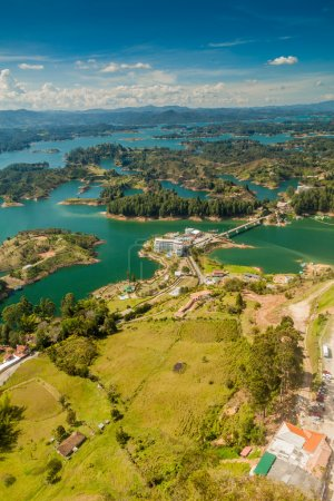 Aerial view of Guatape (Penol) dam lake in Colombi...