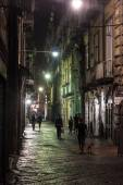 Night view of a street in historic center of Naples