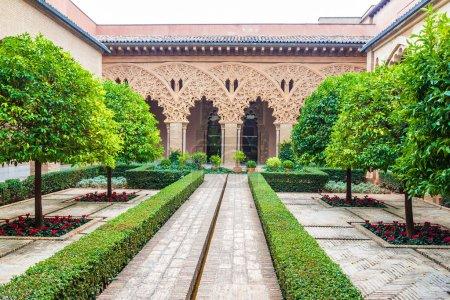 Courtyard of Aljaferia Palace in Zaragoza, Spain...