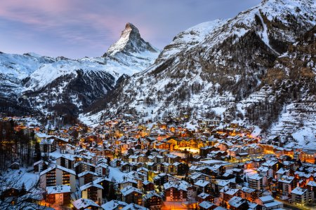 Photo for Aerial View on Zermatt Valley and Matterhorn Peak in the Morning, Switzerland - Royalty Free Image