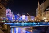 Decorated Ljubljana for New Years holidays, panorama
