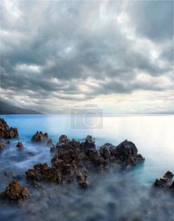 Photo for View of storm seascape with dramatic sea and sky - Royalty Free Image