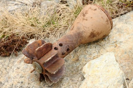 Rusty bomb shell case