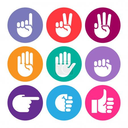 hand gestures. line icons set.