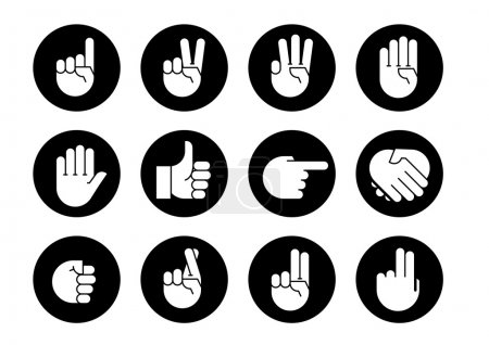 Illustration for Hand gestures. Set icons. Flat style vector icons, emblem, symbol, For Your Design - Royalty Free Image