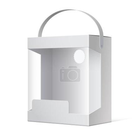 Illustration pour Lumière réaliste paquet boîte en carton avec une poignée et d'une fenêtre en plastique transparente. Illustration vectorielle - image libre de droit