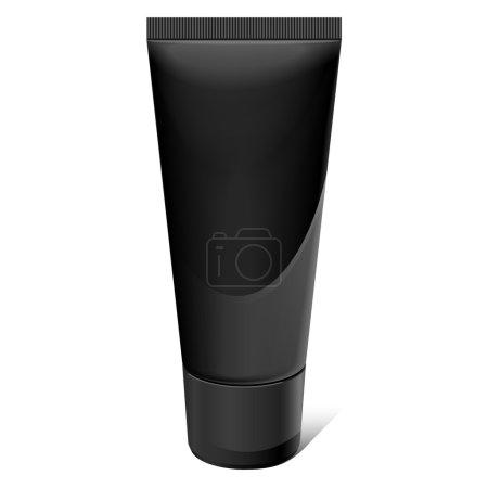 Illustration pour Tube réaliste noir. Pour cosmétiques, onguents, crème, pâte dentaire, colle Vector.elements - image libre de droit