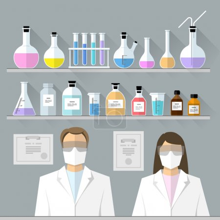 Illustration for Flat chemical test tubes, beakers, flasks design and scientists - Royalty Free Image
