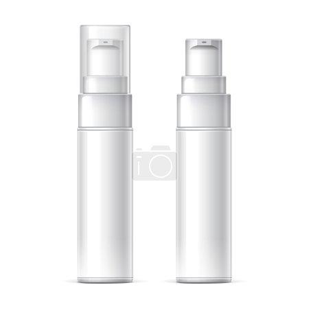 Illustration pour Maquette bouteille en plastique blanc peut pulvérisateur récipient avec couvercle et sans modèle pour votre conception. Illustration vectorielle réaliste . - image libre de droit