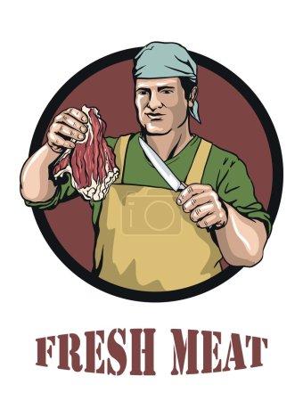 Illustration pour Illustration colorée de boucher qui offre de la viande fraîche - image libre de droit