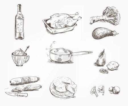 Illustration pour Croquis de denrées alimentaires dessinés à la main sur fond blanc - image libre de droit