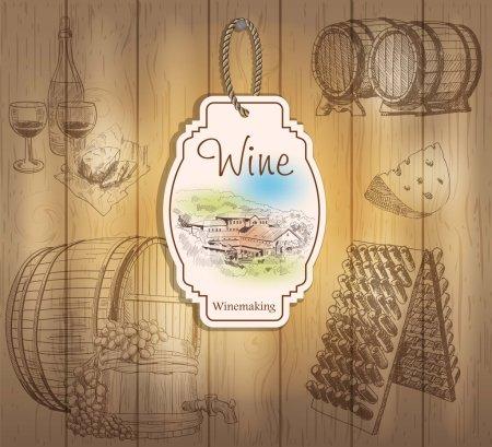 Illustration pour Étiquettes de vin vintage. Illustrations dessinées à la main. Fond en bois avec croquis - image libre de droit