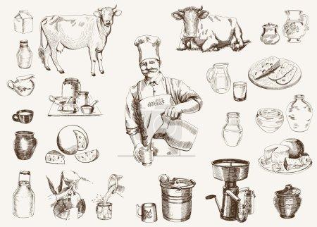 Illustration pour Production laitière. illustrations dessinées à la main. vecteur - image libre de droit