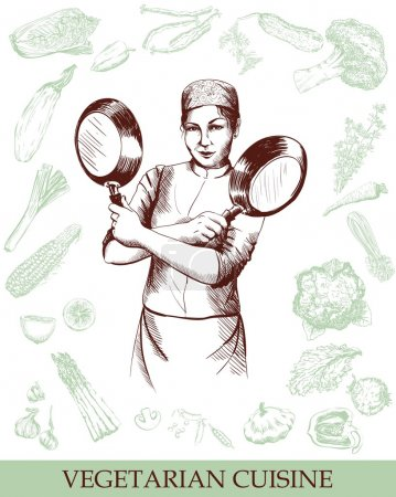 Illustration for Woman chef posing with folded hands vegetables background - Royalty Free Image