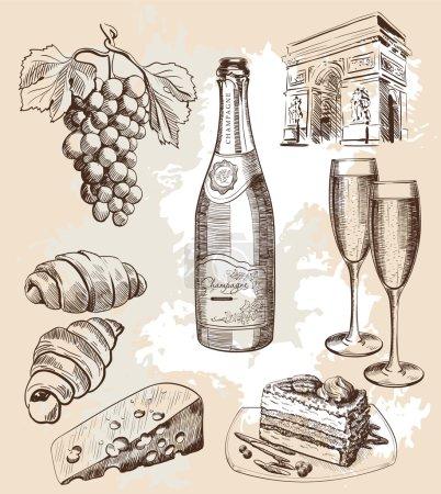 Illustration pour Bouteille de vin mousseux et snacks bouteille de vin mousseux et snacks options - image libre de droit