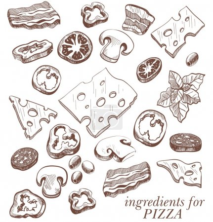 Illustration for Ingredients for pizza set of vector sketches on a white background - Royalty Free Image