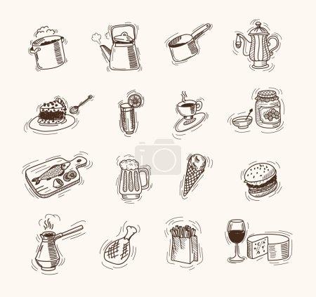 Illustration pour Food jeu de croquis vectoriels sur fond blanc - image libre de droit