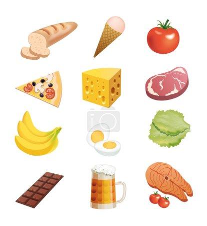 Illustration pour Aliments ensemble d'icônes vectorielles colorées sur un fond blanc - image libre de droit