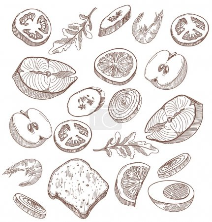 Illustration pour Food jeu de croquis vectoriels dessinés à la main sur fond blanc - image libre de droit