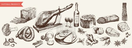 Foodstuffs set of hand drawn vector sketches on a ...