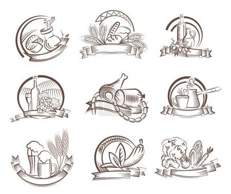 Illustration pour Aliments vecteur icône noire sur fond blanc - image libre de droit