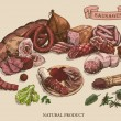 Meat products set of hand drawn vector sketches on...