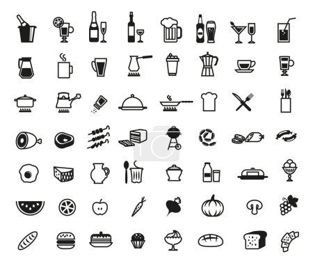 Illustration pour Aliments ensemble d'icônes vectorielles sur fond blanc - image libre de droit