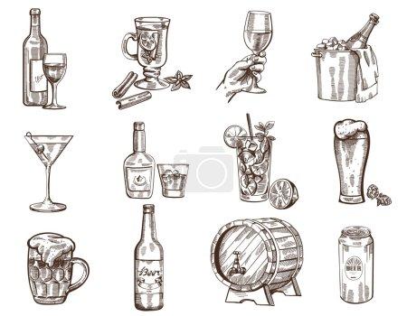 Illustration pour Vecteur collection de boissons dessinées à la main sur fond blanc - image libre de droit