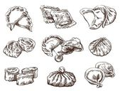 Set of different dumplings