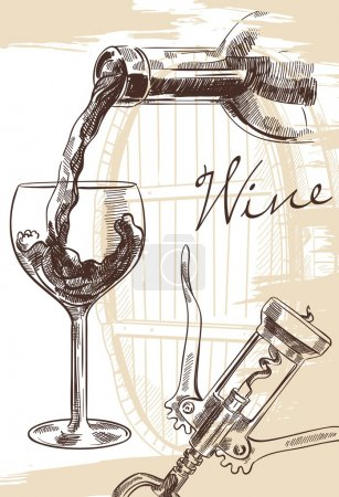 Illustration pour Image dessinée à la main de bouteille de vin avec verre et tire-bouchon sur fond avec fût - image libre de droit