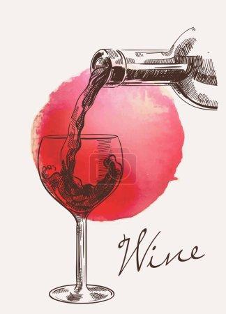 Illustration pour Croquis vectoriel de bouteille avec vin qui se déverse dans le verre sur fond aquarelle avec tache rouge - image libre de droit
