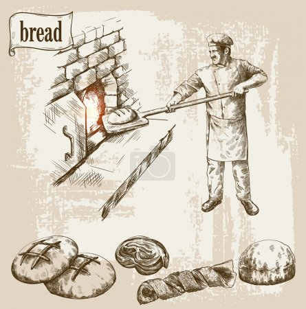 Photo for Baker prepares bread in a stone oven vector illustration - Royalty Free Image