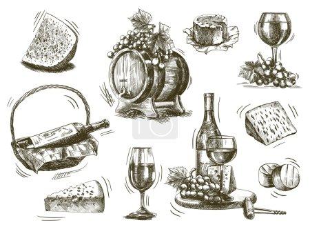 Illustration pour Vinification. ensemble de croquis sur fond blanc - image libre de droit
