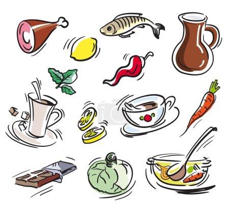 Illustration pour Produits alimentaires. ensemble de croquis sur fond blanc - image libre de droit