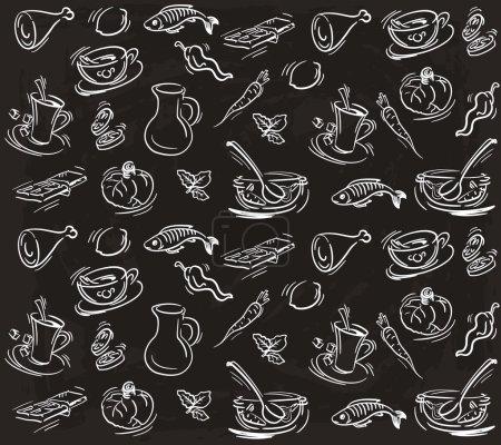 Illustration pour Produits alimentaires. ensemble de croquis sur fond noir - image libre de droit