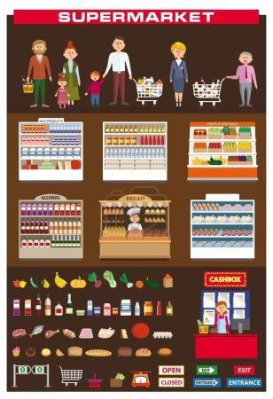 Illustration pour Illustration en couleur d'un magasin familial dans un supermarché - image libre de droit
