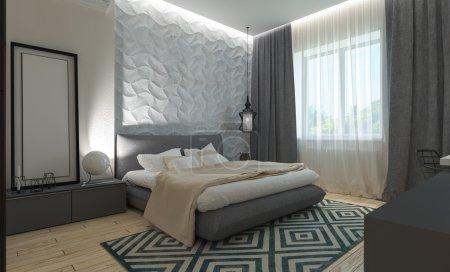 Photo pour Chambre à coucher principale avec vestiaire panneaux 3d dans un style moderne - image libre de droit