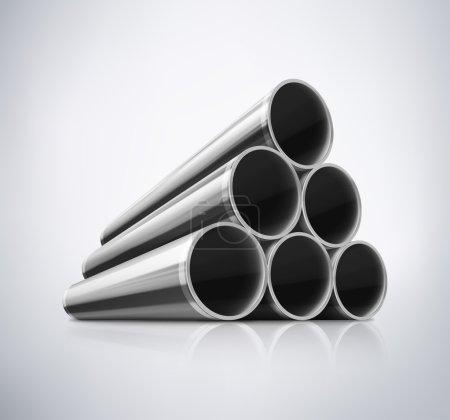 Illustration pour Empilement de tuyaux métalliques, eps 10 - image libre de droit