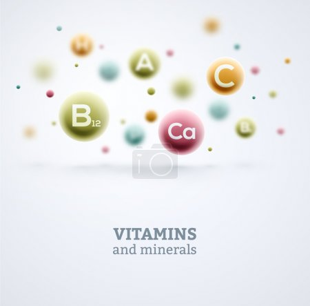 Vitamins and minerals background. Illustration con...