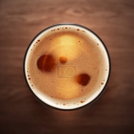 Illustration for Glass beer on wooden background, top view, eps 10 - Royalty Free Image