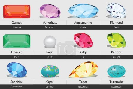 Illustration for Set of faceted gemstones with shadows. - Royalty Free Image