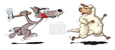 Wolf chasing sheep