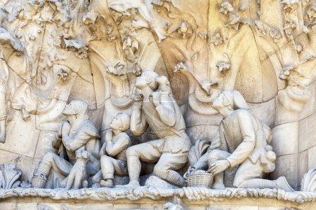 Details of Sagrada Familia, church  designed by Spanish architect Antoni Gaudi, Barcelona, Spain