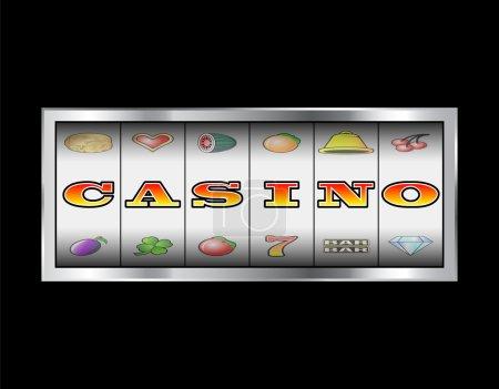Illustration pour Machine à sous rouleaux casino en lettres vectorielles sig - image libre de droit