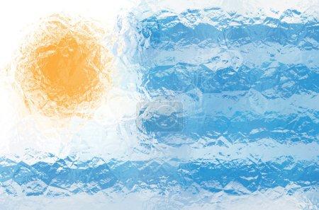 Photo pour Drapeau Uruguay - motif polygonal triangulaire de surface métallique brillante froissée - image libre de droit