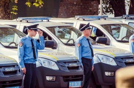 editorial reportage Gift Volynskaiy policemen special cars Lutsk, Volyn region Ukraine 03.09.15