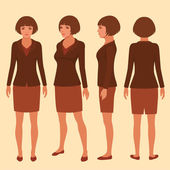 Vector woman cartoon character front back and side view of secretary